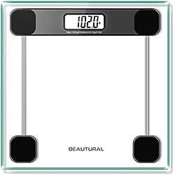 Beautural Precision Pèse-personne numérique avec technologie Step-on Écran LCD rétroéclairé Verre 6 mm Poids max 180 kg
