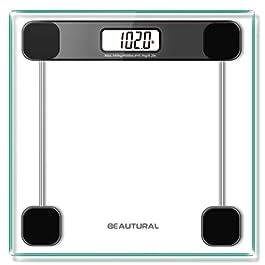 Beautural – Bilancia digitale da bagno, ad alta precisione, con tecnologia step-on, display LCD retroilluminato, 180 kg…