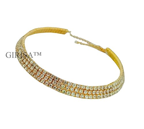 GIRISA Crystal Diamante Rhinestone Necklace Wedding Party Choker For Girls And Women (Golden Triple Row)