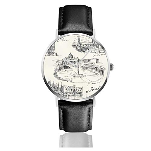 Travel The World Themed Historical Italian Landmarks Venice Rome Florence Pisa Black Quartz Movement Stainless Steel Leather Strap Watches Casual Fashion Wrist Watches