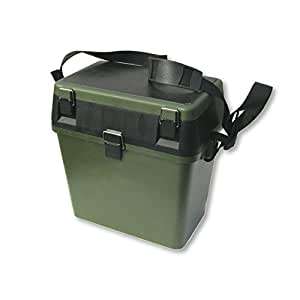 NEW IMPROVED DESIGN - Fishing Tackle Seat Box, Extra Padded Seat, Should Strap and Storage by Grandeslam