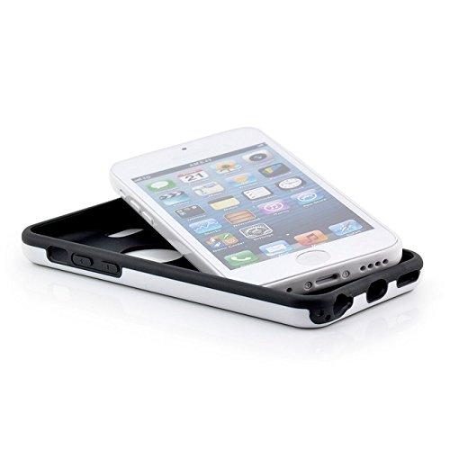 Saxonia Hülle + Displayschutzfolie Apple iPhone 5C Case Silikon Slim Cover Diamond Design Silikonhülle Weiss-Schwarz Weiß-Schwarz