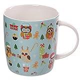 Puckator XMUG09 Weihnachts-Tasse, Eulen-Motiv, Porzellan, 9x12x9cm