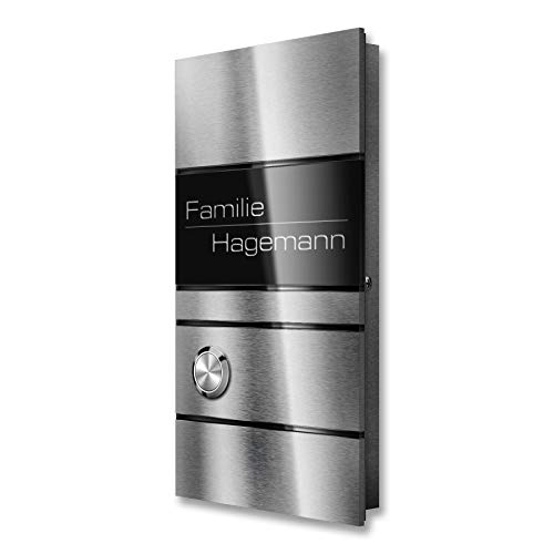 Funkklingel Edelstahl inkl. Gravur, Funk-Gong & Batterien - Aufputz-Türklingel (2 Empfänger)