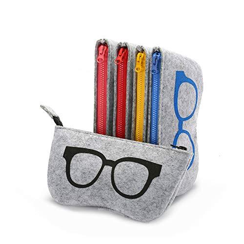 Brillen Beutel Fall Zipper Filz Portable Sonnenbrille Schutz Tasche Box Leicht und Multi-Colored Eyewear Holder (5 Packs, Schwarz + Gelb + Pink + Blau + Rot)