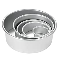 Decdeal 5pcs/set Aluminum Alloy Round Cake Mould Chiffon Cake Baking Pan Pudding Cheesecake Mold Set with Removable Bottom