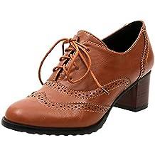 Zapato Tacon Mujer Brogues Oxford Cuero Plataforma Zapatos de Cordones Señoras Talones 6cm Vintage Casual Trabajo