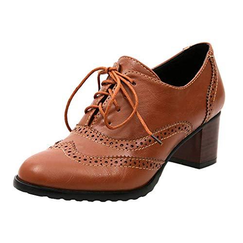 Brogues Damen Blockabsatz Leder Schnürhalbschuhe Low Top Lederschuhe Oxford 6cm Absatz Schuhe Elegante Vintage Schwarz Braun Beige Gr.34-43 BR39