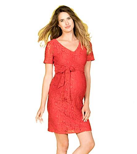 Love2Wait Umstandskleid Umstandsmode Schwangerschaftskleid Damen Kleid Dress 151100 (XS (32-34), rot)