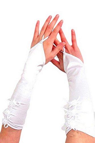 krautwear® Damen Handschuhe Spitze Ellenbogen Lang Abendhandschuhe Gerafft Braut Kurz Satin Schleife Schwarz Rot Weiss (066-weiss)