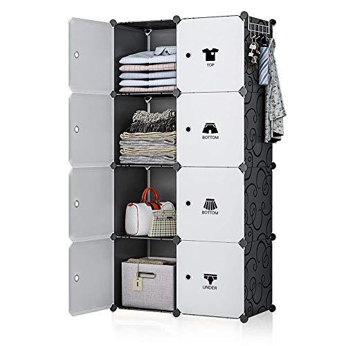 Gabz Mehrzweck-Schränke/Kleiderschrank aus Kunststoff, tragbar, für Zuhause und Büro, mehrere Ablagen, Elegantes Design, für Schlafzimmer, Kinder, Erwachsene, Plastik, schwarz/weiß, 8 Shelves