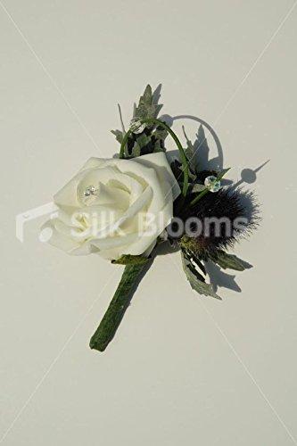 Reich Thistle (Wunderschöne, reiche Violett Thistle moderne Knopfloch w/Rose Ivory)