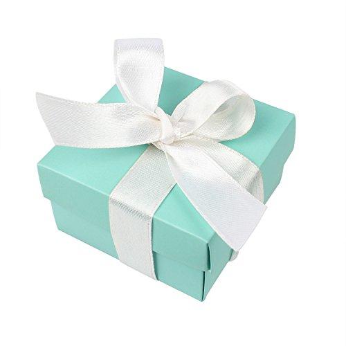 chzeit Tasche Gastgeschenken + 10pcs Seidenband, Mini kleinen Platz Türkis Candy Box mit Deckel für Hochzeit, Geburtstage, Hochzeiten und Baby Duschen (Aqua Blau) (Geschenk-taschen Für Baby-dusche-bevorzugungen)