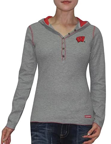 NCAA Wisconsin Badgers Femme Slim Fit Pullover Long Sleeve Hooded Shirt L Grey