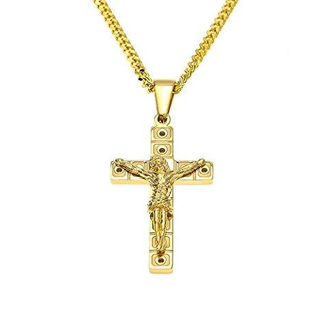 KnSam Herren Halsketten 18K Gold Vergoldet Kreuz Jesus Kruzifix Anhänger Gebetskette für Männer, Gold 60cm [Neuheit Halskette] - 18k Crocifisso