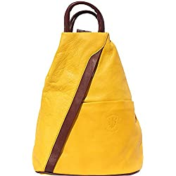 Florence Leather Market Bolso mochila y bolsa de hombro 2061 (Amarillo-marrón)