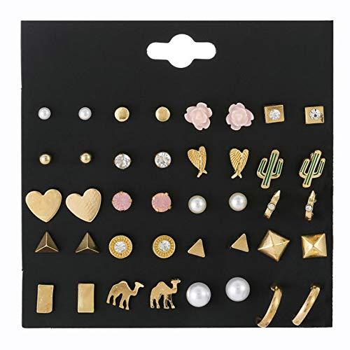 GHTZYA 20 Paare /SatzMode Weibliche Gold Metall Kleine Ohrstecker Set Für Frauen Nette Quadratische Runde Kaktus Ohrring Kinder Schmuck GeschenkE0096-1