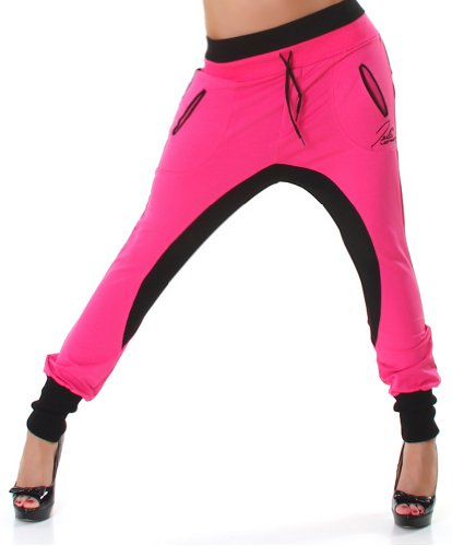 Jela London Damen Haremshose Hose Jogginghose Größen L - Pink-Schwarz