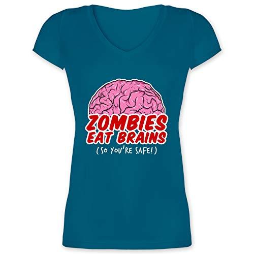 Halloween - Zombies eat Brains - so You´re Safe! - M - Türkis - XO1525 - Damen T-Shirt mit V-Ausschnitt (2019 Halloween Zombie-marke)