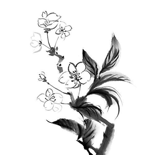 Bilderdepot24 Vlies Fototapete - Aquarell - Chinesische Blume - schwarz Weiss - 50x50 cm - mit Kleister - Poster - Foto auf Tapete - Wandbild - Wandtapete - Vliestapete Krug Japan