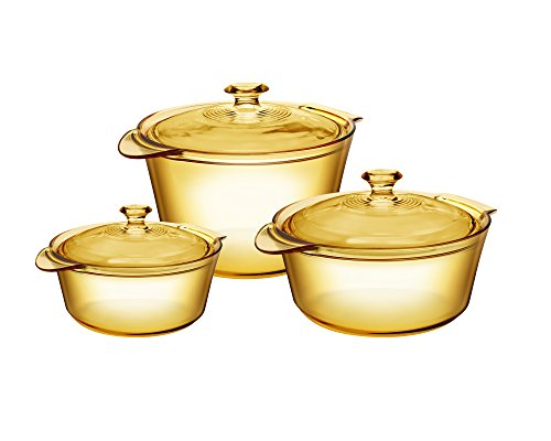 Visions Pyroceram Glass Flair 6Pc Casserole and Cookpot Pot Set, Brown