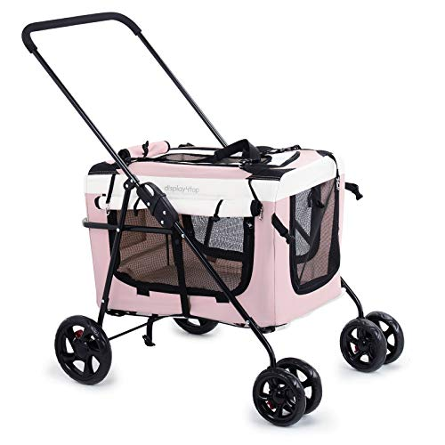 Display4top Pink Pet Travel Stroller Dog Cat Pushchair Pram Jogger Buggy w/Locking Zippers Plush Nap Pillow 2X Interior Room Airy Windows Sunroof Reduces Anxiety