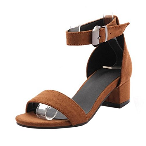 COOLCEPT Femmes Mode Chunky Heel Strappy Sandales Fille Ecole Orteil ouvert Chaussures Jaune