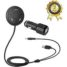 Besign Kit Vivavoce Bluetooth 4.1 Auto, Ricevitore Audio Stereo con Cavo Audio 3.5mm ( Microfono incorporato,Raggio d'azione di 10 metri, Caricatore USB 2A )