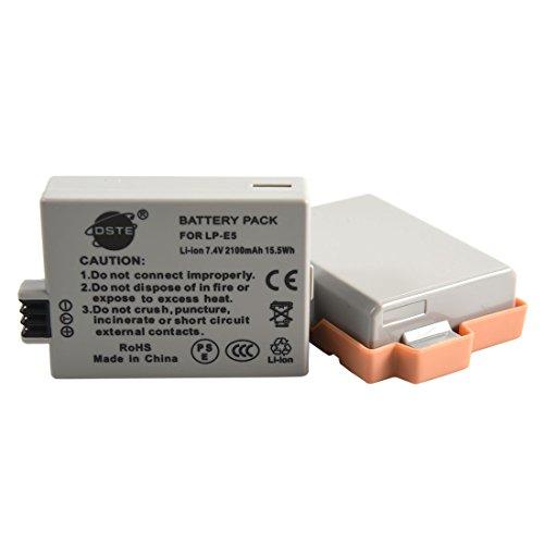 DSTE 2x LP-E5 de remplacement Li-ion Batterie pour Canon EOS 450D, 500D, 1000D, Kiss F, Kiss X2, Kiss X3, Rebel XS, Rebel XSi, Rebel T1i