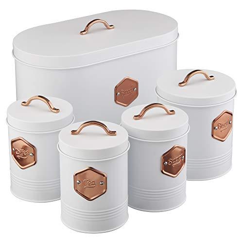 Cooks Professional Aufbewahrungsdosen-Set für die Küche, 5-teilig, für Tee, Kaffee, Zucker, Kekse und Brot, mit Kupfer-Details (Weiß/Kupfer) -