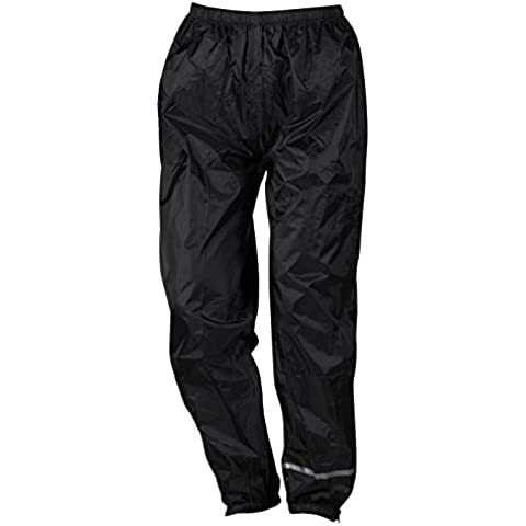 Nerve Easy Rain Pantalones Impermeables de Moto, Negro, XL
