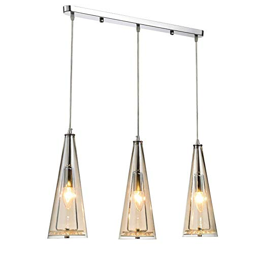 LQUIDE Moderne Bernstein pendelleuchte runde Glas kristall kronleuchter e14 3 licht pendelleuchte für küche Insel esszimmer esstisch bar loft Balkon Wohnzimmer Beleuchtung, a -