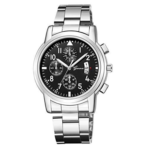 YUYOUG Herren Edelstahl Quarz Analog Datum Kalender Uhren Herren Luxus Business Mode Analoge Armbanduhr Sport Uhren Geschenk Einheitsgröße J