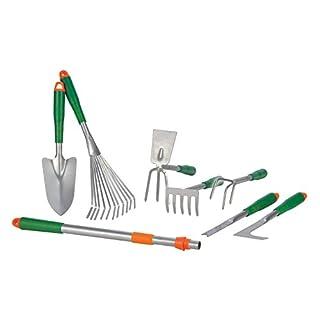 Gartenwerkzeug Set 8-teilig - Rechen, Fugenmesser, Harkel, Schaufen, Telskopgriff uvm. - Garten Handgeräte Gartenpflege