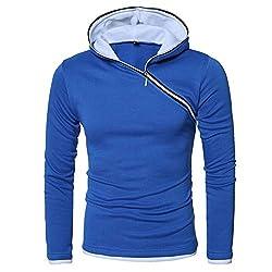 Xmiral Kapuzen-Pullover Herren Einfarbig Lose Kapuzensweatshirt Hoodies (S, X Blau)