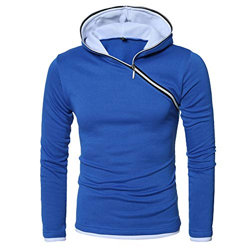 Kapuzenbluse Herren,❤️Binggong Herren Herbst Winter Casual Tops Langärmliges Reißverschluss T-Shirt Solide Kapuzenbluse
