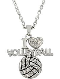 Lemegeton Collar con Colgante de Cristal de Voleibol I Love para fanáticos Deportivos