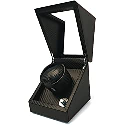 Pateker® Luxury Carbon Fiber Single Watch Winder, Black Leather Display Box Case [100% Handmade]