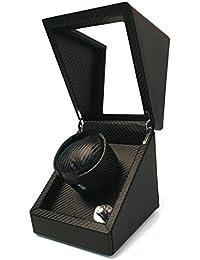 Pateker® Caja con Rotor de Lujo de Fibra de Carbono Sencillo, Estuche de Muestra de Cuero Negro [100% hechos a mano]