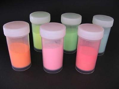 Farbpigmente nachleuchtend 6 x 50 g - 6 Farben glow in the dark von Gepotex bei TapetenShop