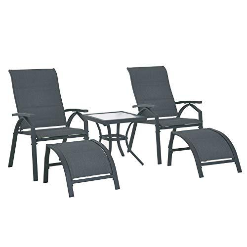 Outsunny 5-TLG. Gartengarnitur Gartensitzgruppe Gartentischset Gartenliege gepolstert Metall + Textilene Grau 2 x Sessel 2 x Hocker 1 x Tisch - Bank 2 Hocker