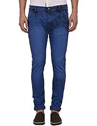 JUGEND Blue Plain Stretchable Slim fit Jeans for Men