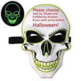 HOLE 2 Maschere di Halloween LED incandescente Maschera Spaventosa per i Ragazzi e Le Ragazze (batterie escluse) (Bianco)