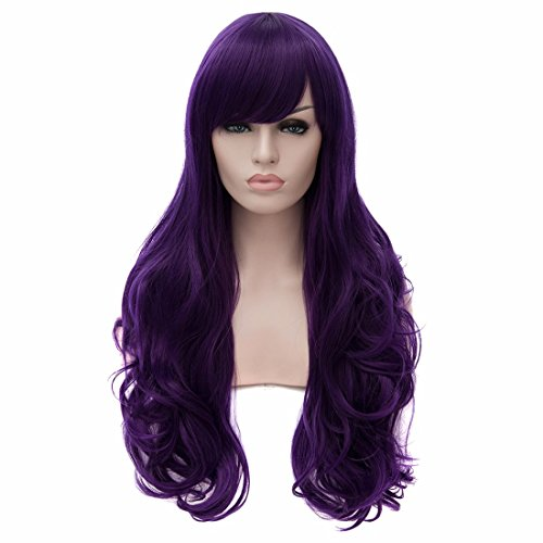 QIYUN.Z Femmes Sexy Violet Fonce Perruques Cosplay Anime Grande Longue Perruque De Mode Resistant Boucles