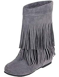 f921226b38e8f4 YE Damen Ankle Boots Flache Stiefeletten Stiefel mit Fransen Schlupfstiefel  Einfach Freizeit Winter Schuhe