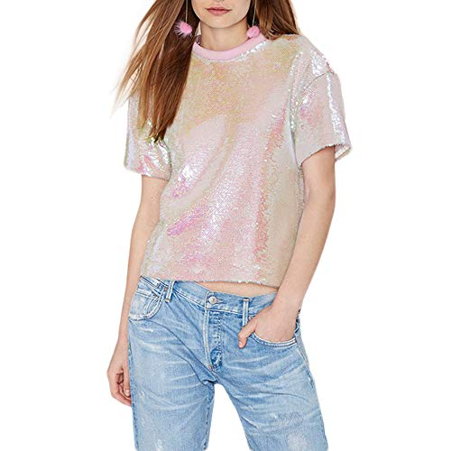VERO VIVA Damen T-Shirt mit glitzernden Pailletten Rose Pink Crop Top Short Sleeve Sweet Tee Shirt - Pink - Mittel -