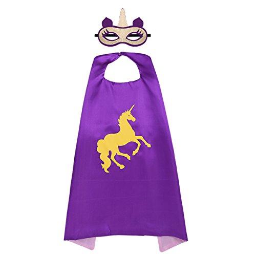 iiniim Kostüme für Kinder Set Einhorn Satin Umhang+Augenmaske für Kinder, Cosplay, Party, Geburtstag, Festzug Lila Einheitsgröße (Lila Dress Up Set)