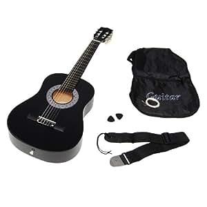 TS-Ideen 5276 Guitare acoustique 1/2 avec Etui + Sangle + Jeu de cordes pour Enfant de 6 à 9 ans Noir