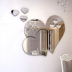 Idea Regalo - Adesivi murali specchio, cristallo 3D doppio amore cuore acrilico fai da te art decalcomanie della parete di casa soggiorno bagno tv sfondo decor, 10 pezzi / 2 set(Argento)
