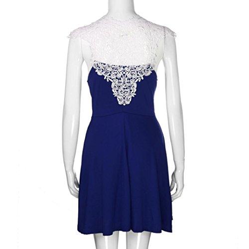 3aea06d43e4bc ... Amlaiworld damen Hohl Spitze Spleiß kleider elegant locker V-Ausschnitt  Plissee Kleid mode kleidung Für